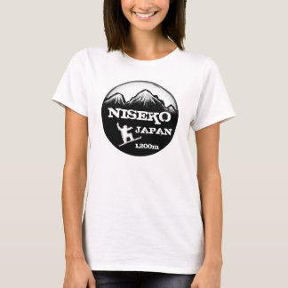 Niseko Japan black white snowboard art ladies tee