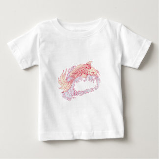 Nishikigoi Koi Jumping Waves Drawing Baby T-Shirt