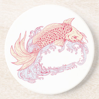 Nishikigoi Koi Jumping Waves Drawing Coaster