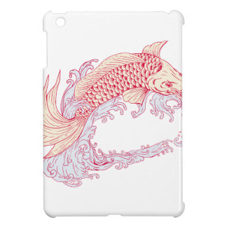 Nishikigoi Koi Jumping Waves Drawing Cover For The iPad Mini