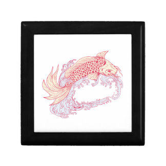 Nishikigoi Koi Jumping Waves Drawing Gift Box