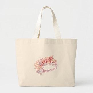 Nishikigoi Koi Jumping Waves Drawing Large Tote Bag