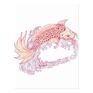 Nishikigoi Koi Jumping Waves Drawing Postcard