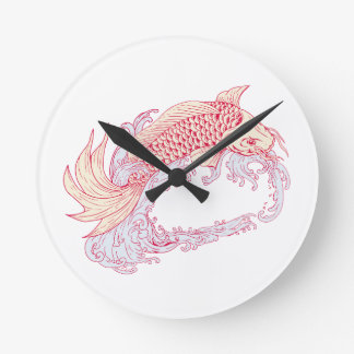 Nishikigoi Koi Jumping Waves Drawing Round Clock