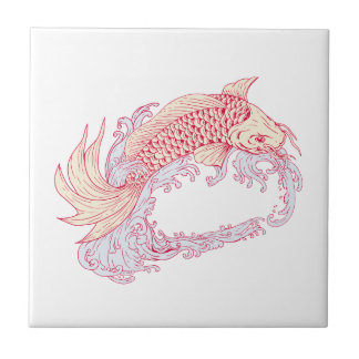Nishikigoi Koi Jumping Waves Drawing Tile