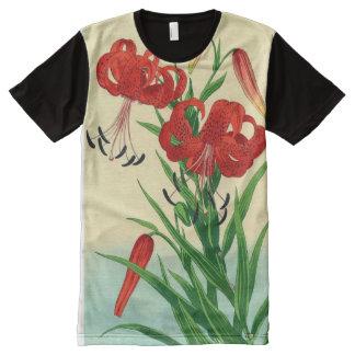 Nishimura Hodo Tiger Lilies Shin Hanga Flowers All-Over-Print T-Shirt