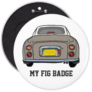 Nissan Figaro - Topaz Mist - My Fig Badge 6 Inch Round Button