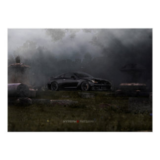 NISSAN GT-R R35 1400WHP IN 1800'S GRAVEYARD POSTER