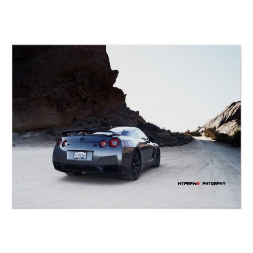 Nissan GT-R R35 in a Desert Basin Poster