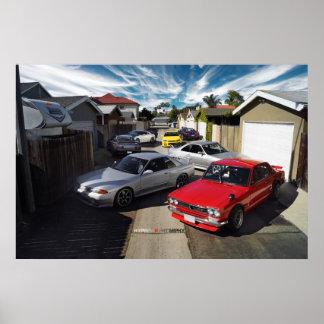 Nissan GT-R R35, R34, R33, R32 & Hakosuka HERITAGE Poster