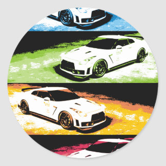 Nissan GTR pop-art Classic Round Sticker