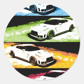 Nissan GTR pop-art Classic Round Sticker
