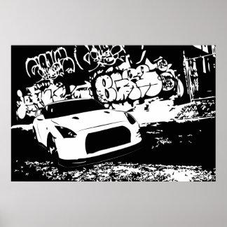 Nissan Skyline GTR with Graffiti Backdrop Poster