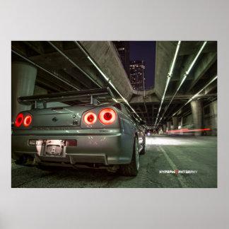Nissan Skyline R34 GTR à Los Angeles du centre Affiche