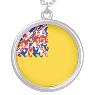 Niue Gnarly Flag Round Pendant Necklace