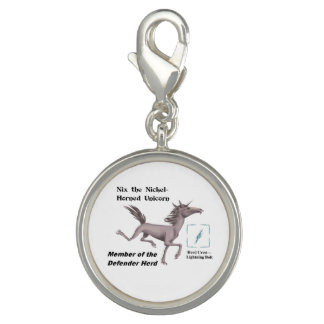 Nix with Herd Info - Round Silver Plated Charm