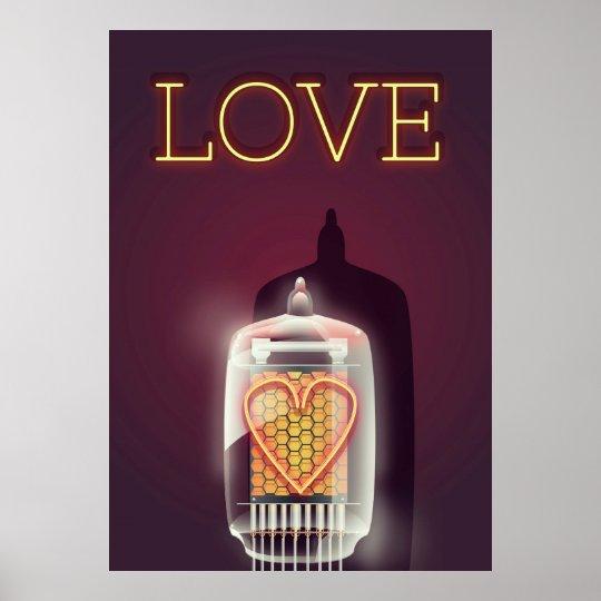 Nixie Tube 'Love' vintage poster