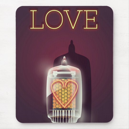 Nixie Tube 'Love' vintage poster Mouse Pad