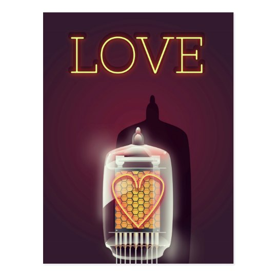 Nixie Tube 'Love' vintage poster Postcard