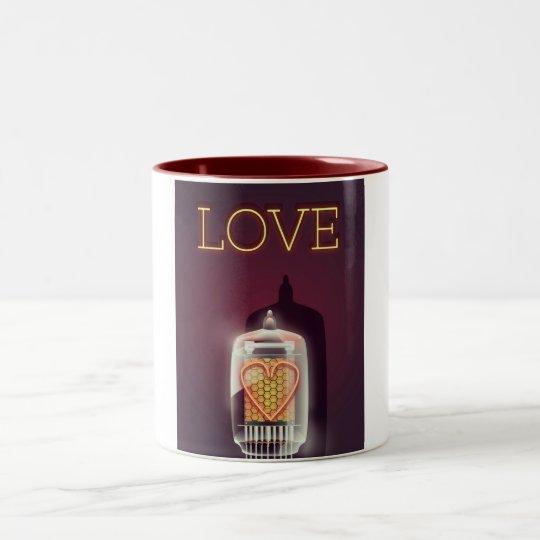 Nixie Tube 'Love' vintage poster Two-Tone Coffee Mug