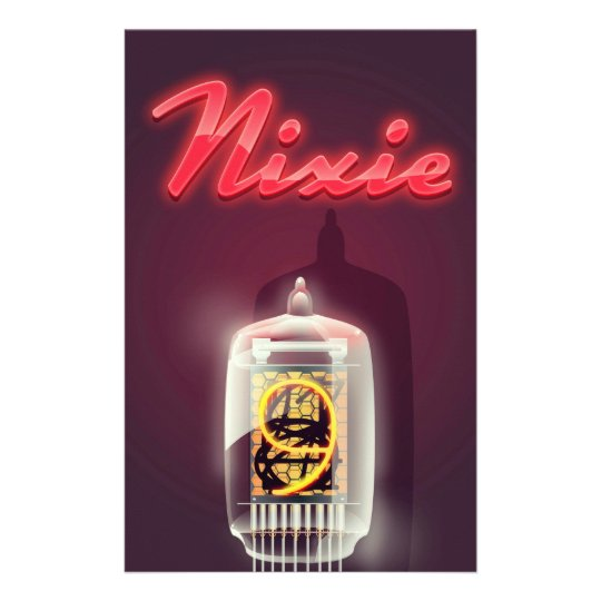 Nixie Tube vintage poster Custom Stationery