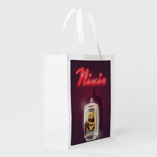 Nixie Tube vintage poster Reusable Grocery Bag