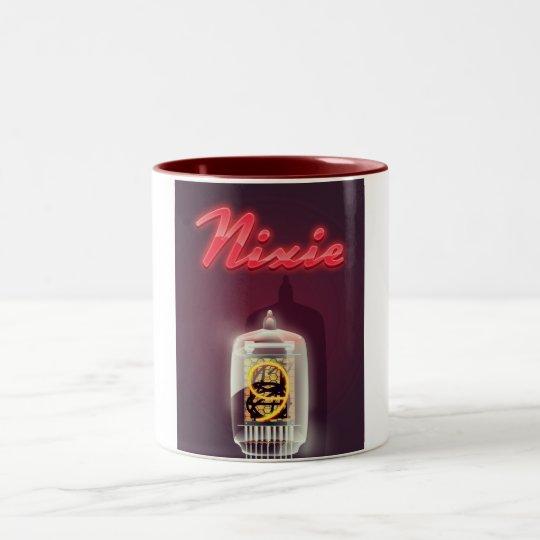 Nixie Tube vintage poster Two-Tone Coffee Mug