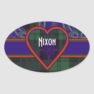Nixon clan Plaid Scottish kilt tartan Oval Sticker