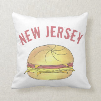 NJ New Jersey Pork Roll Breakfast Egg Sandwich Throw Pillow
