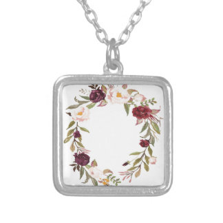 NJCO Flower Wreaths Silver Plated Necklace