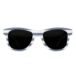 Njoku Apparel Logo Navy+White Striped Sunglasses. Sunglasses