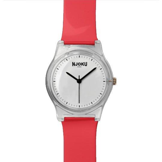 Njoku Apparel 'Red' Logo Wrist Watch. Watches