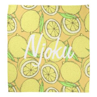 Njoku Lemon Print Bandana. Bandana