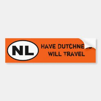 NL Sticker - Have Dutchness will travel Bumper Sticker