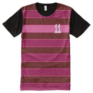 No.11 Stripe Pink Maroon Children Kids Shirt