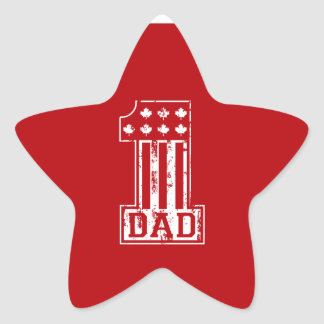 No. 1 Dad Canada Star Sticker