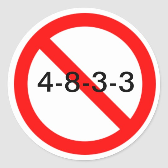 NO 4-8-3-3 CLASSIC ROUND STICKER