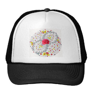 No. 8 Mandala with Roses and Diamonds Trucker Hat