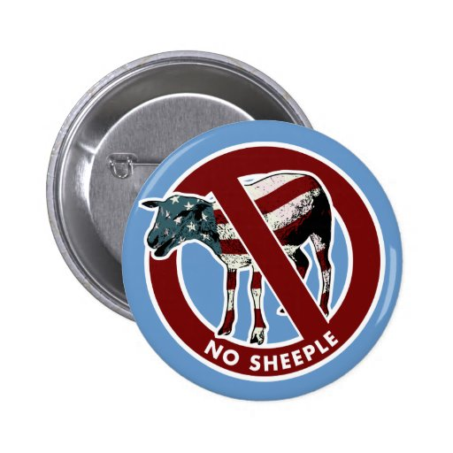 No American Sheeple Button Pinback Buttons