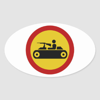No Armored Vehicles, Traffic Sign, Bosnia Oval Sticker