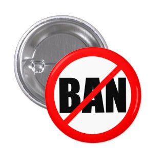 """NO BAN"" 1 INCH ROUND BUTTON"