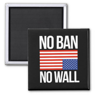 NO BAN NO WALL - white -  Square Magnet
