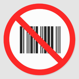 No bar codes classic round sticker