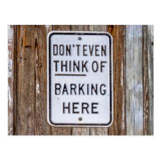 No Barking Sign Postcard