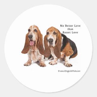 no better love than basset love round sticker