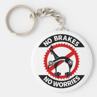 No Brakes No Worries Fixed Gear BMX Track Basic Round Button Keychain