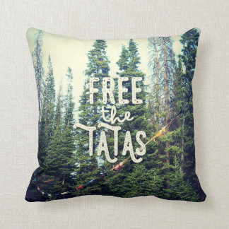 No Bras Allowed In The Forest Throw Pillow