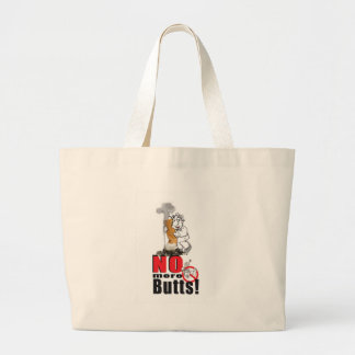 NO BUTTS - Stop Smoking Large Tote Bag