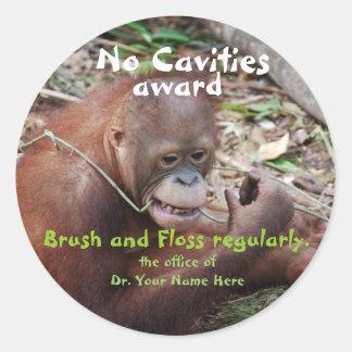 No Cavities  Dentist Award for Children Classic Round Sticker