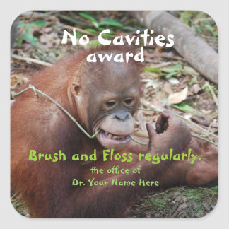 No Cavities  Dentist Award for Children Square Sticker
